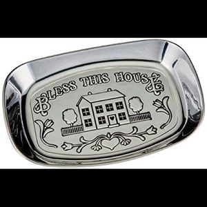 Bless This House Vintage Pewter Bread Tray Decor